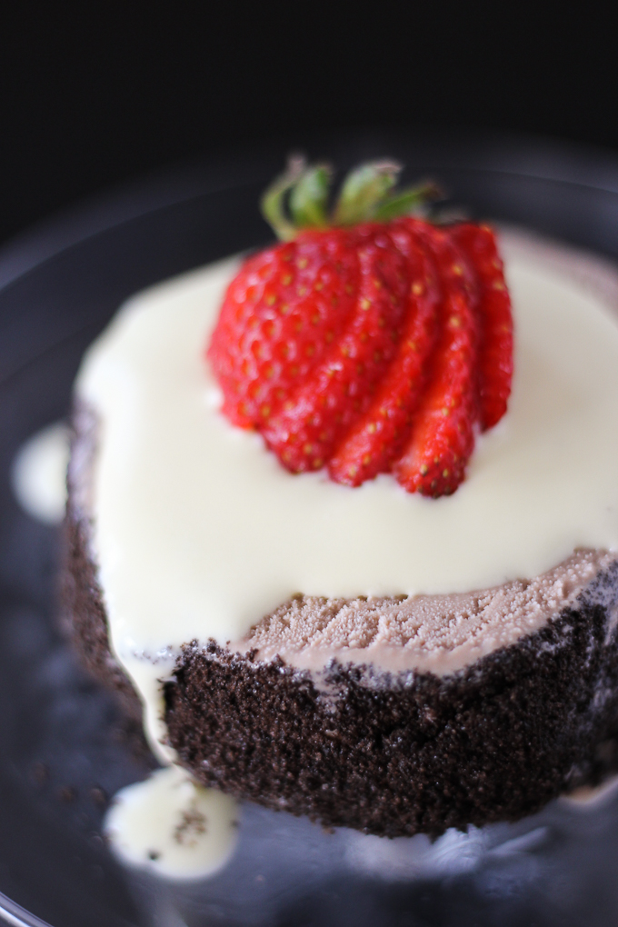 Mini Ice Cream Cake with Banana Creme Anglaise