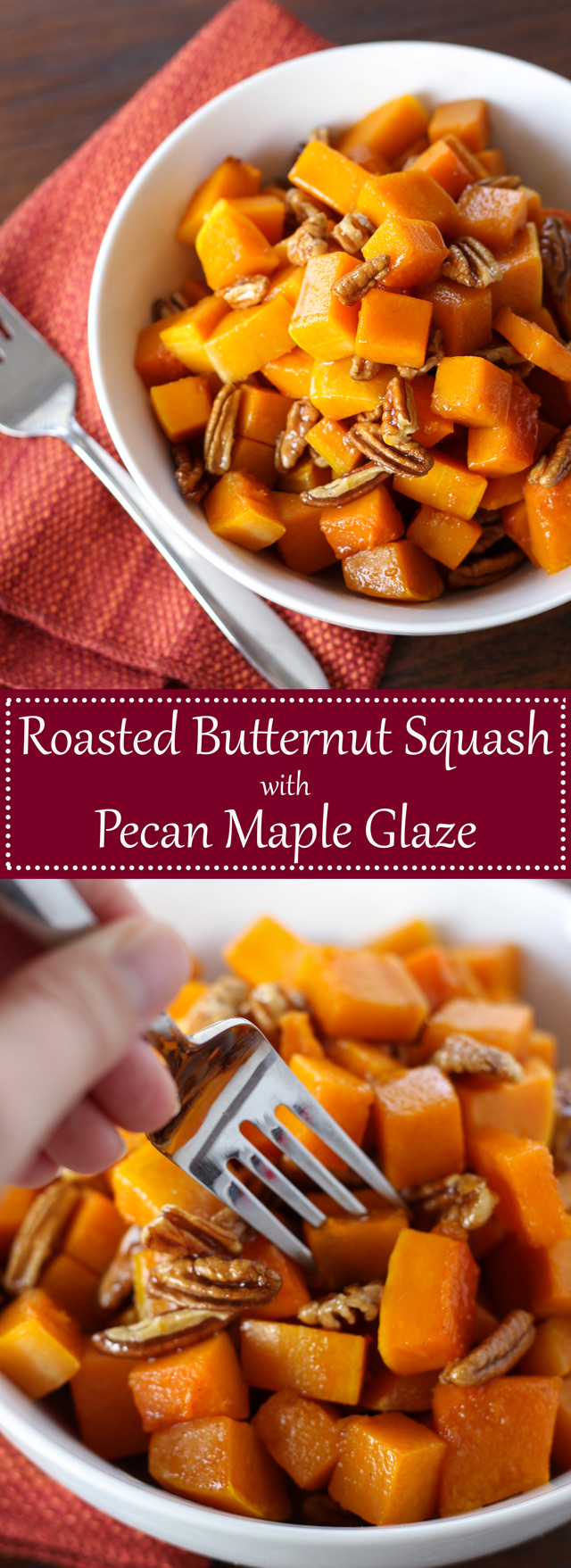 Butternut Squash with Pecan Maple Glaze - so simple and the perfect side dish for the fall!