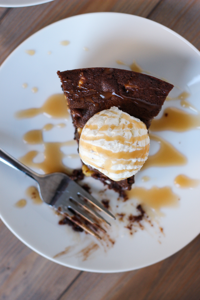 Triple Chocolate Skillet Cookie - serve warm with ice cream for a dangerously delicious dessert!