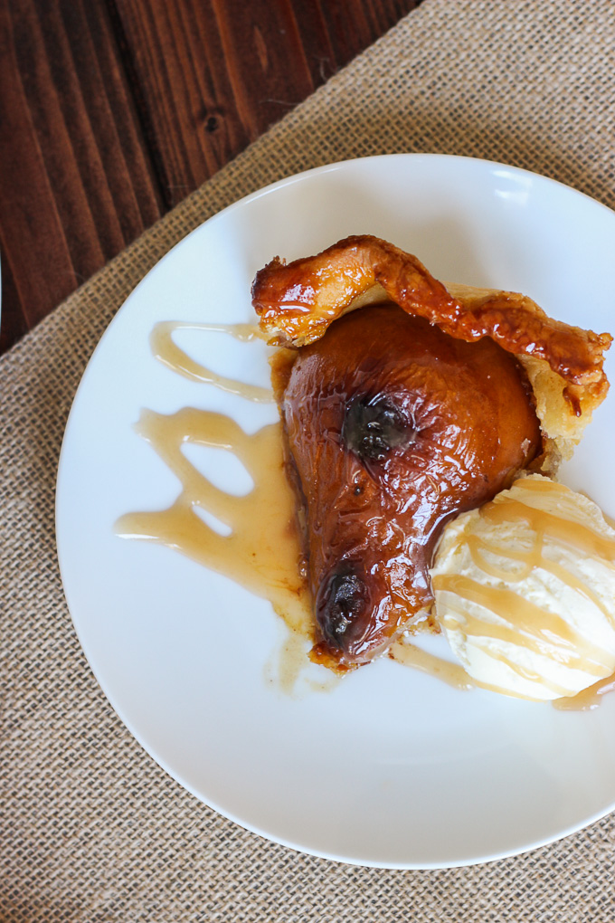 Pear Tart with Bourbon Caramel Sauce