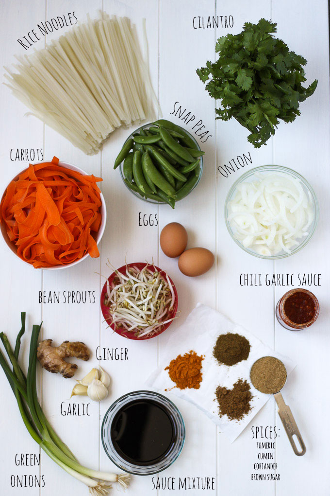 Vegetable Pad Thai Ingredients