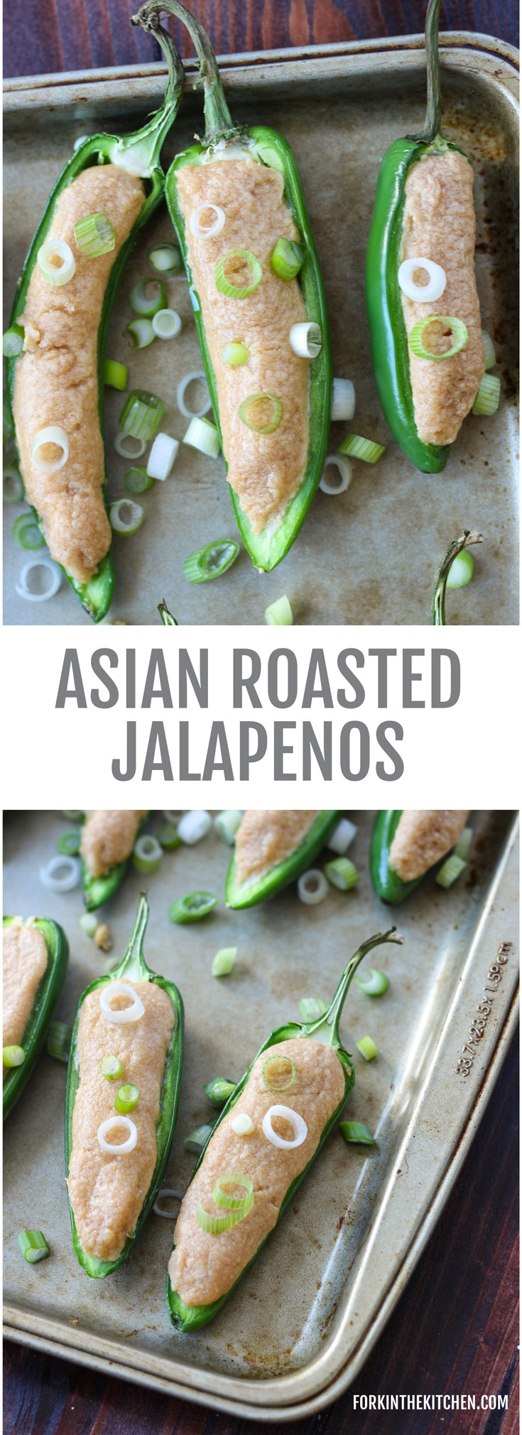 Asian Roasted Jalapenos - an excellent two-bite appetizer, spicy and creamy all in one! // Fork in the Kitchen
