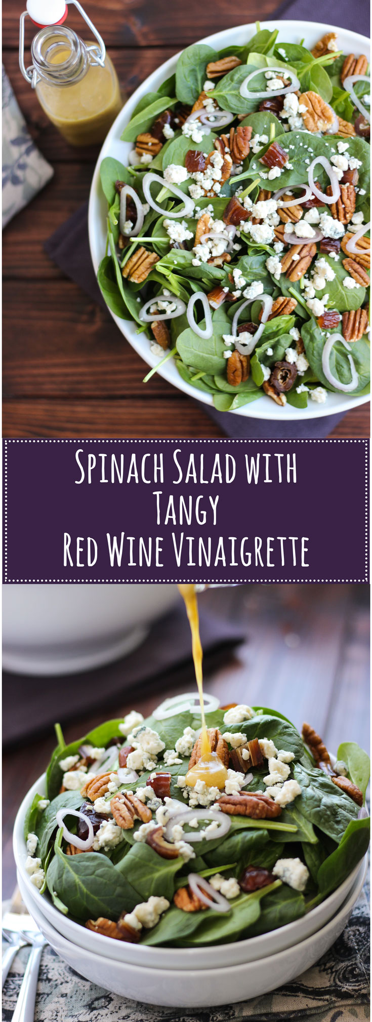Spinach Salad with Tangy Red Wine Vinaigrette makes healthy delicious - pecans, blue cheese, shallots, and sweet dates tossed with spinach and a tangy, red wine vinegar, and mustard dressing.