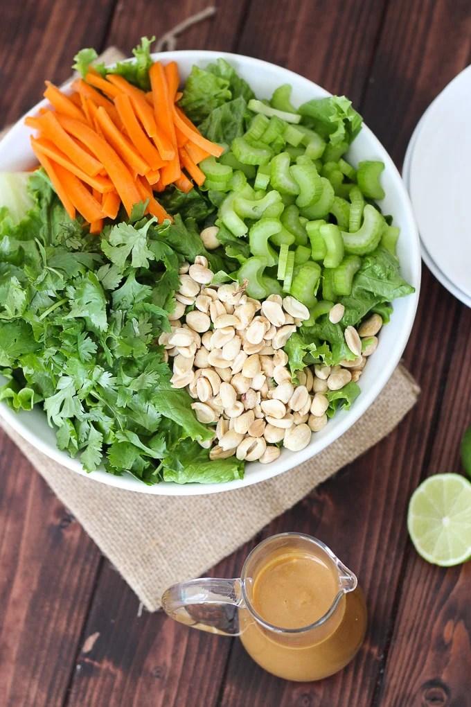 Cilantro Salad with Peanut Sauce Dressing