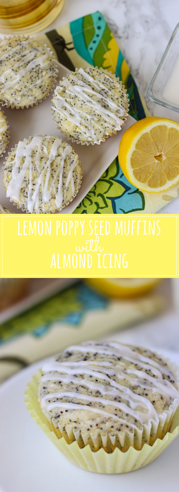 Lemon Poppy Seed Muffins with Almond Icing - moist muffins with light lemon flavor, bursting with poppy seeds, and drizzled with a sweet almond icing! They will brighten up your breakfast!