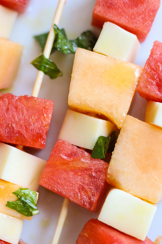 Melon Skewers with Mint Dressing // Fork in the Kitchen