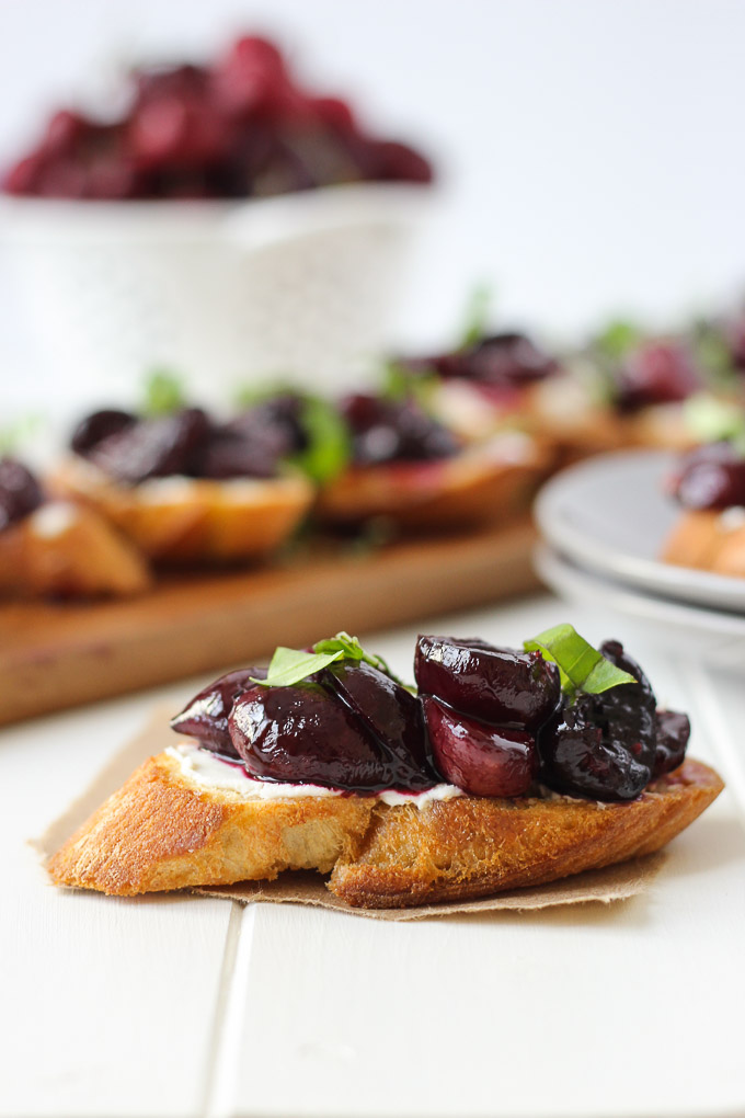 Roasted Cherry & Goat Cheese Crostini // Fork in the Kitchen