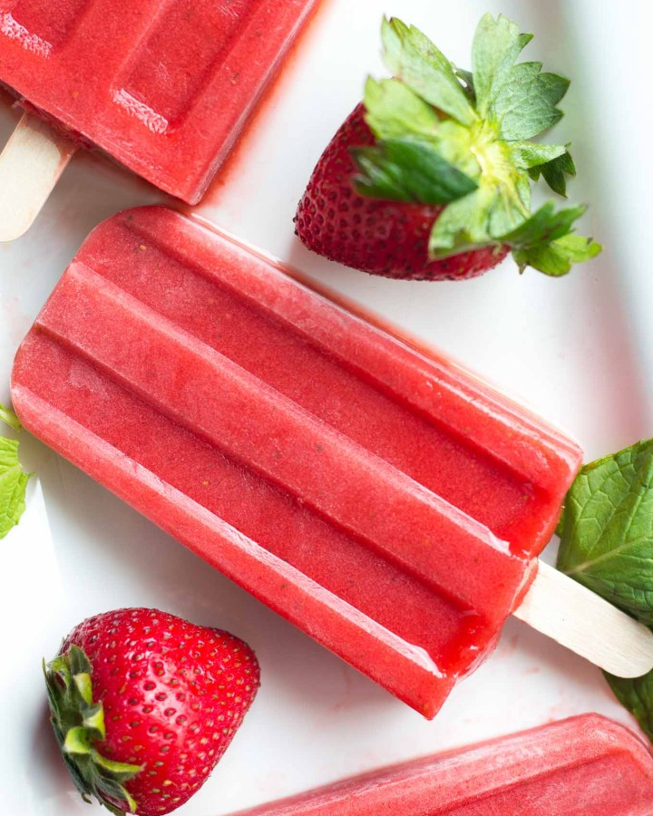 Strawberry Mint Popsicles // Fork in the Kitchen