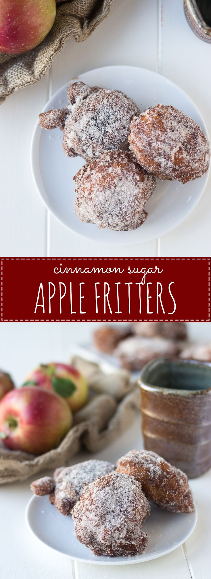 Cinnamon Sugar Apple Fritters - a fall brunch recipe that's sure to please; sweet and tart apple bits in a light, cinnamon batter, fried to a crisp exterior and coated in cinnamon sugar.
