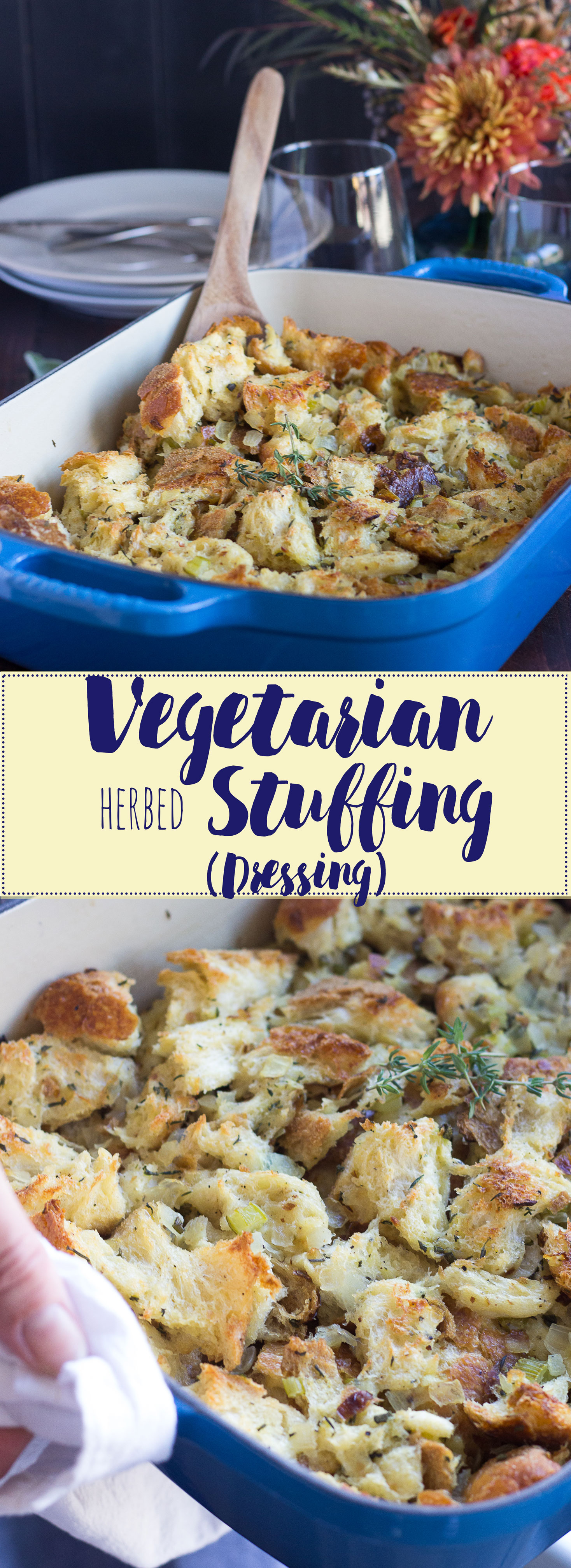 Vegetarian Herbed Stuffing/Dressing // Fork in the Kitchen