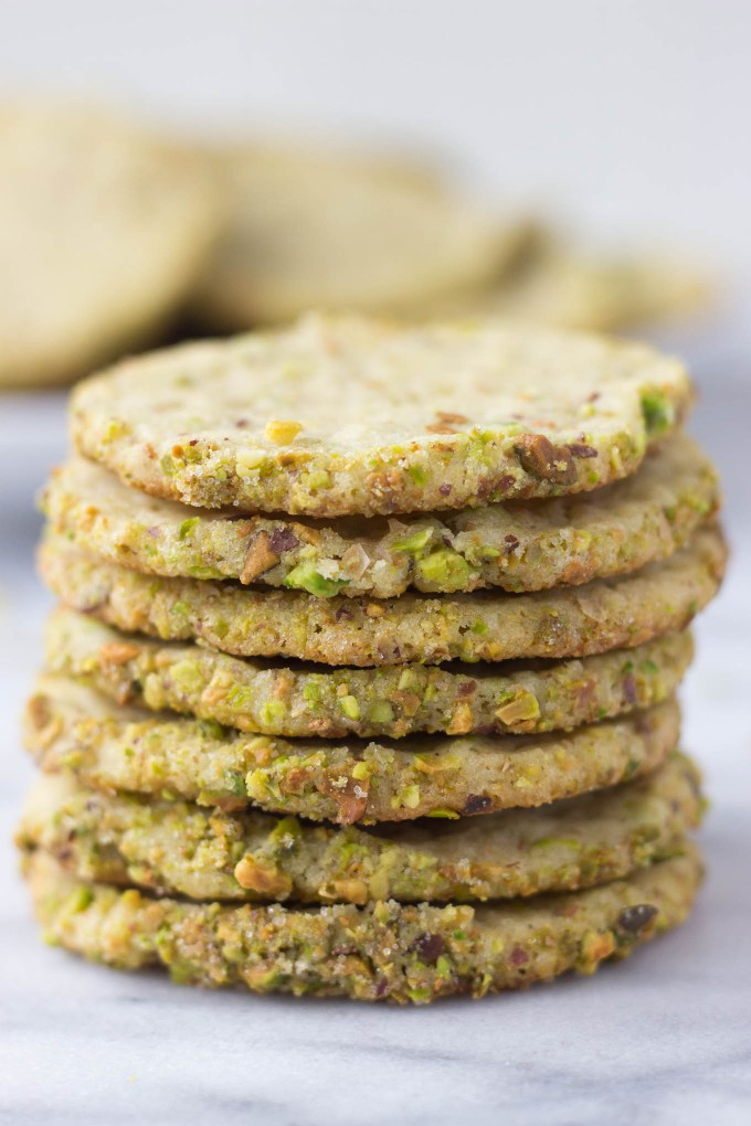 Pistachio Butter Cookies stack  // Fork in the Kitchen