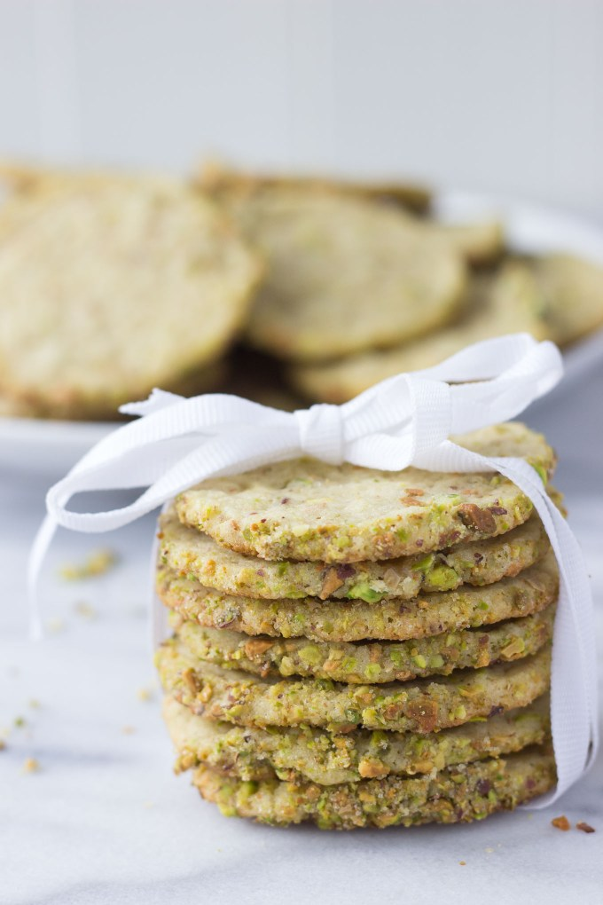 Pistachio Butter Cookies stack tied with a bow // Fork in the Kitchen