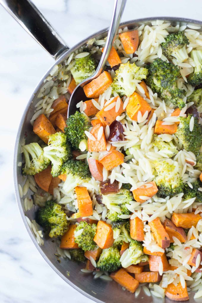 Roasted Broccoli & Sweet Potato Orzo Pasta // Fork in the Kitchen