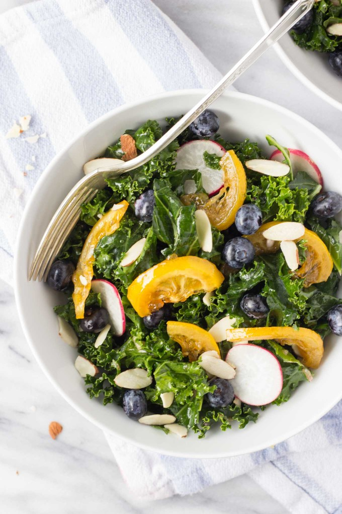 Blueberry Kale Salad w/ Candied Lemons | Fork in the Kitchen
