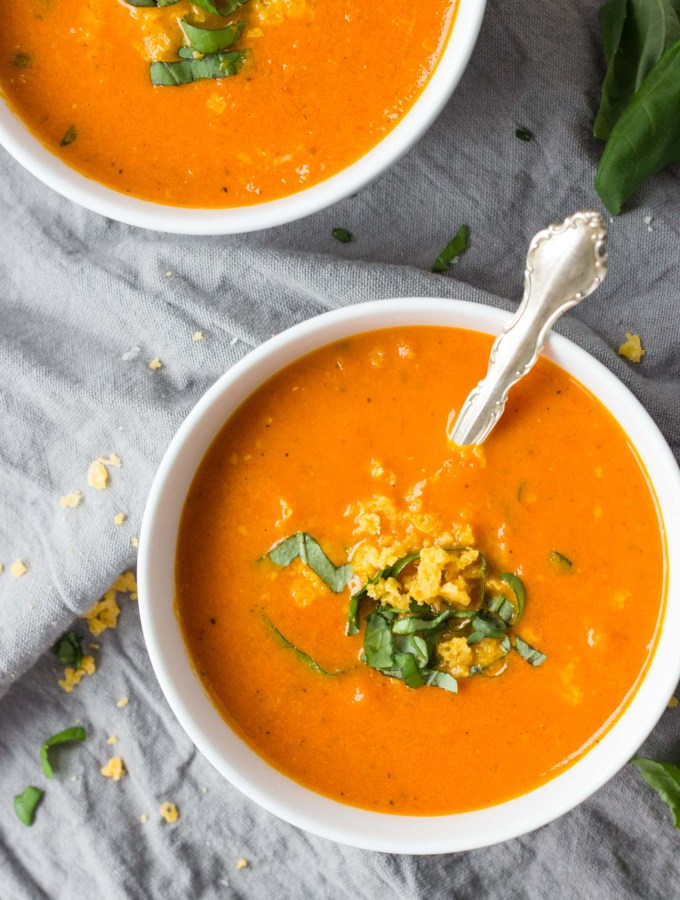 Roasted Tomato Carrot and Ginger Soup | A healthy, comforting soup full or rich flavor! It's gluten-free, dairy-free, and vegan! And goes perfectly with a crusty baguette. | Fork in the Kitchen