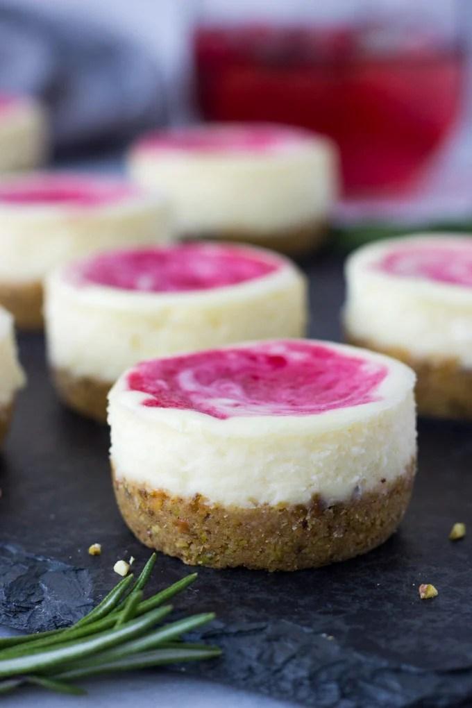 Mini Cranberry Pistachio Cheesecakes | Fork in the Kitchen