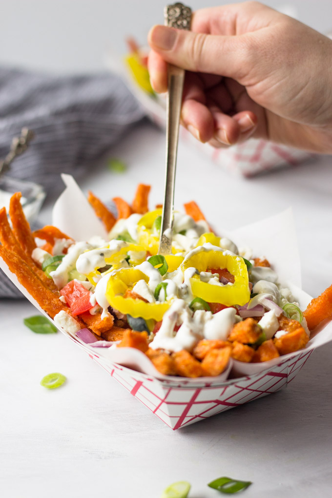 Loaded Greek Sweet Potato Fries - full of flavor, ready for the next big party or weeknight dinner! | Fork in the Kitchen