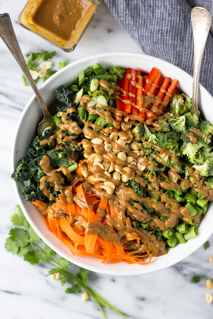 Thai Chopped Salad with Peanut Sauce Dressing - an easy, healthy, detox lunch or dinner full of flavor and crunch!   Fork in the Kitchen