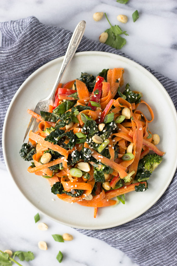 Thai Chopped Salad with Peanut Sauce Dressing | Fork in the Kitchen