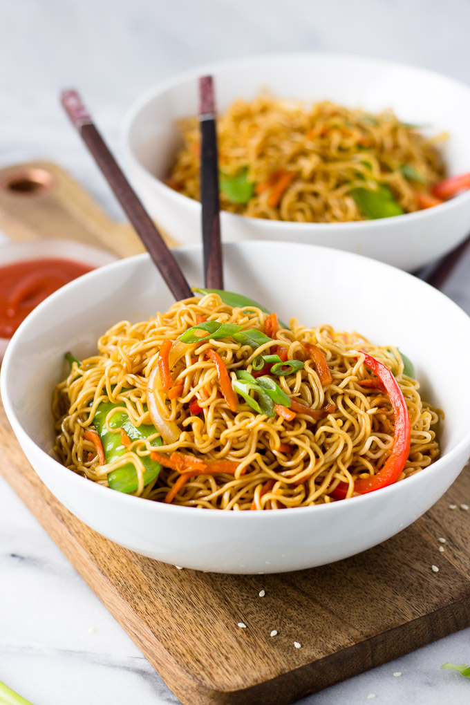 Vegetable Lo Mein for Two - better than take-out, this lo mein is a quick dinner and can easily be doubled!   Fork in the Kitchen