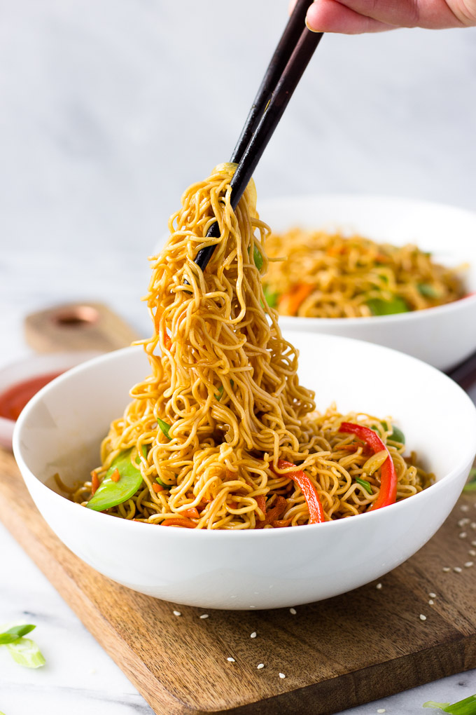 Vegetable Lo Mein for Two - better than take-out, this classic Chinese dish is a quick dinner and can easily be doubled!   Fork in the Kitchen