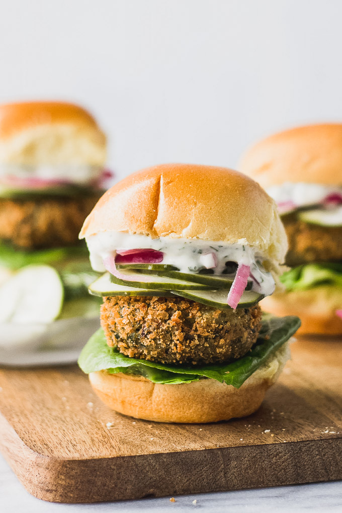 Crispy Falafel Sliders - a flavorful vegetarian meal! | Fork in the Kitchen