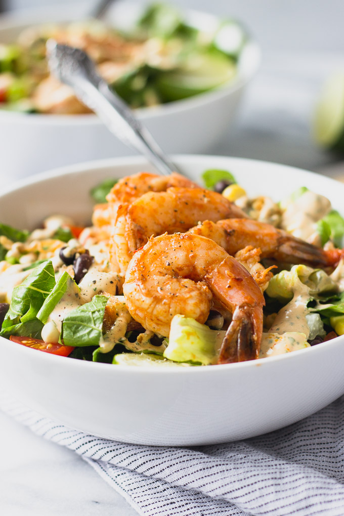 up close view of chipotle grilled shrimp without dressing
