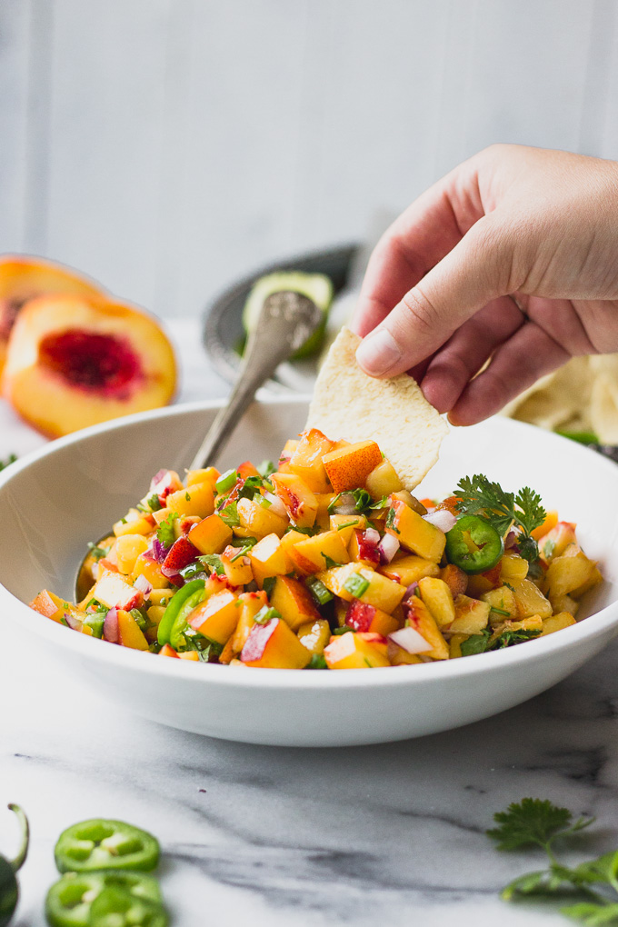 5 Ingredient Peach Salsa - an easy snack or addition to tacos, fish, or a salad! #recipe #forkinthekitchen #quick #5ingredients | Fork in the Kitchen