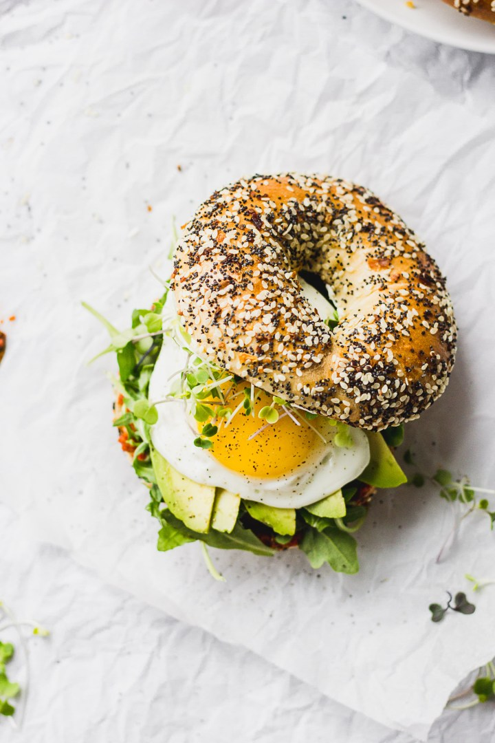 everything bagel with over easy egg, romesco sauce, avocado, arugula
