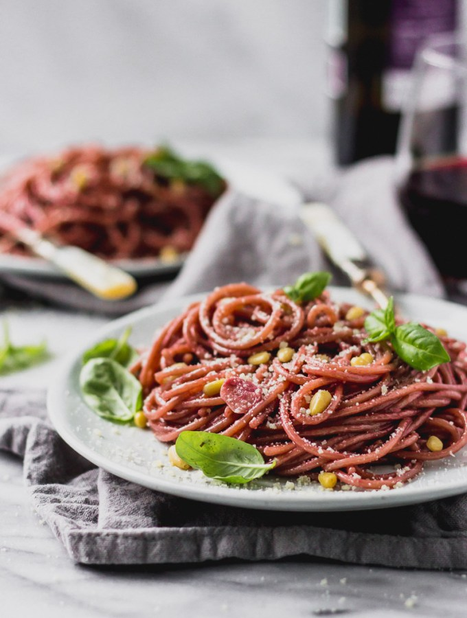 Creamy Red Wine Spaghetti