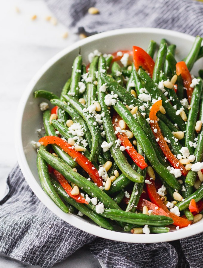 Sautéed Green Beans with Red Pepper and Goat Cheese