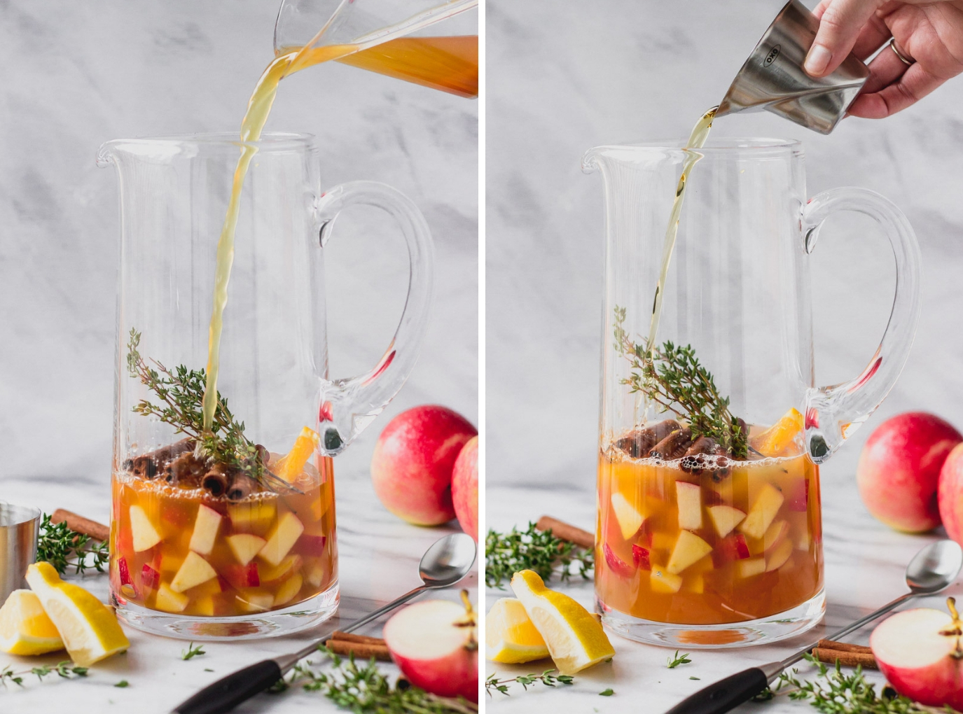 pouring cider and bourbon into apple cider sangria pitcher by fork in the kitchen