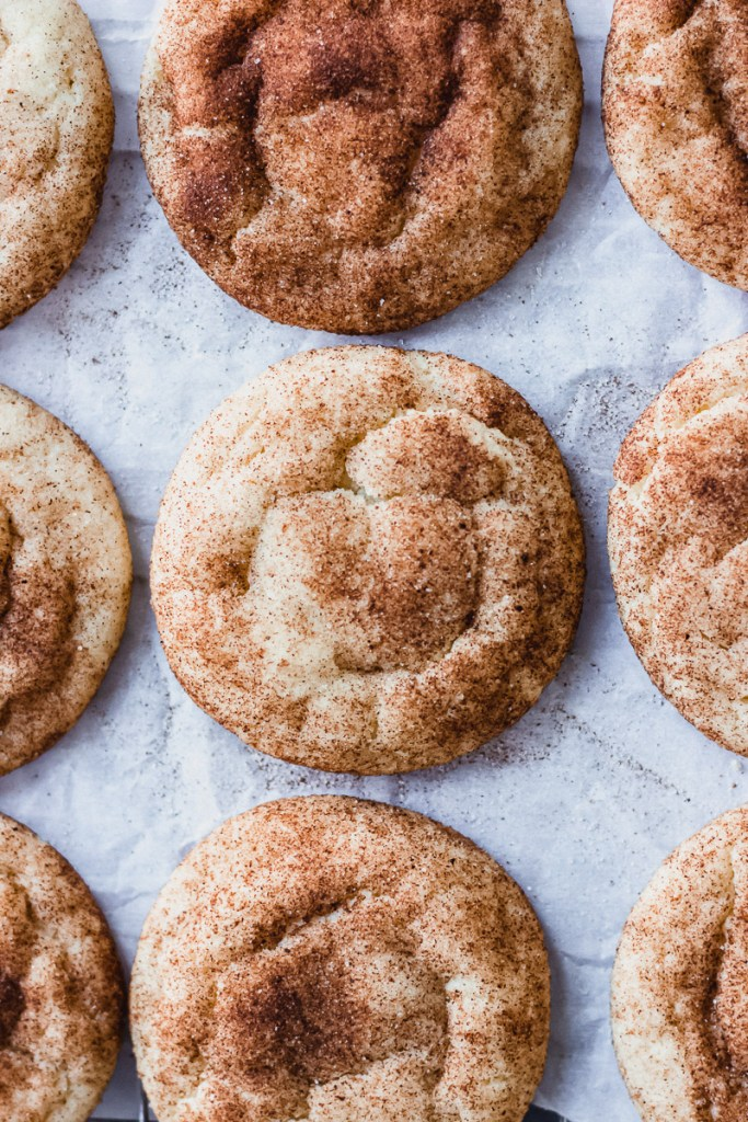 spice snickerdoodle cookies overhead on pan by fork in the kitchen