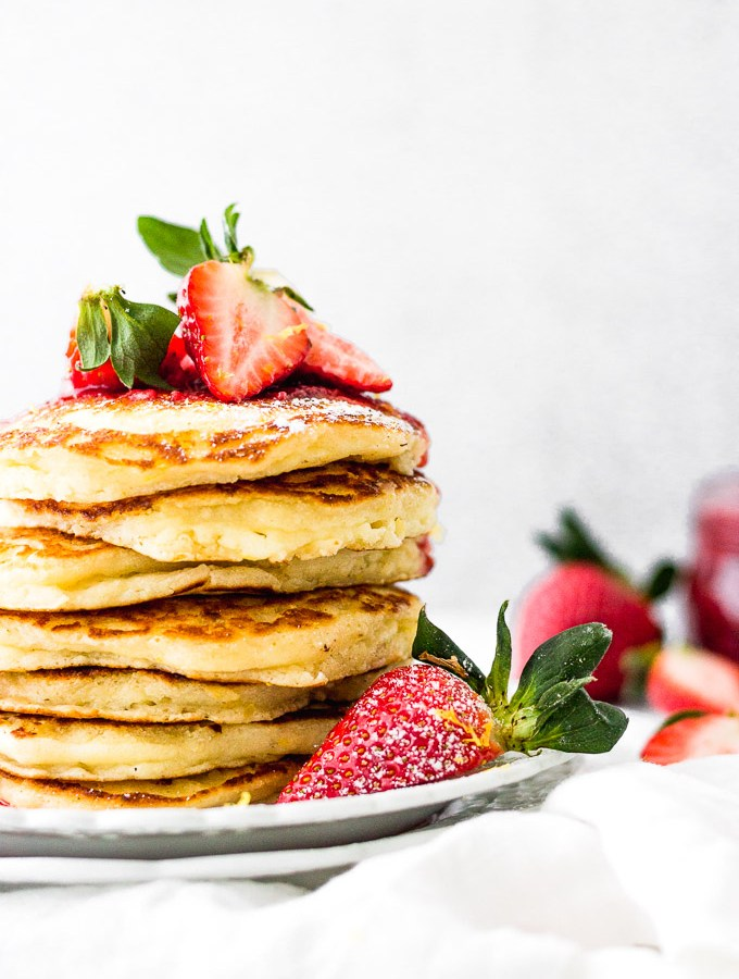Lemon Mascarpone Pancakes with Strawberry Sauce