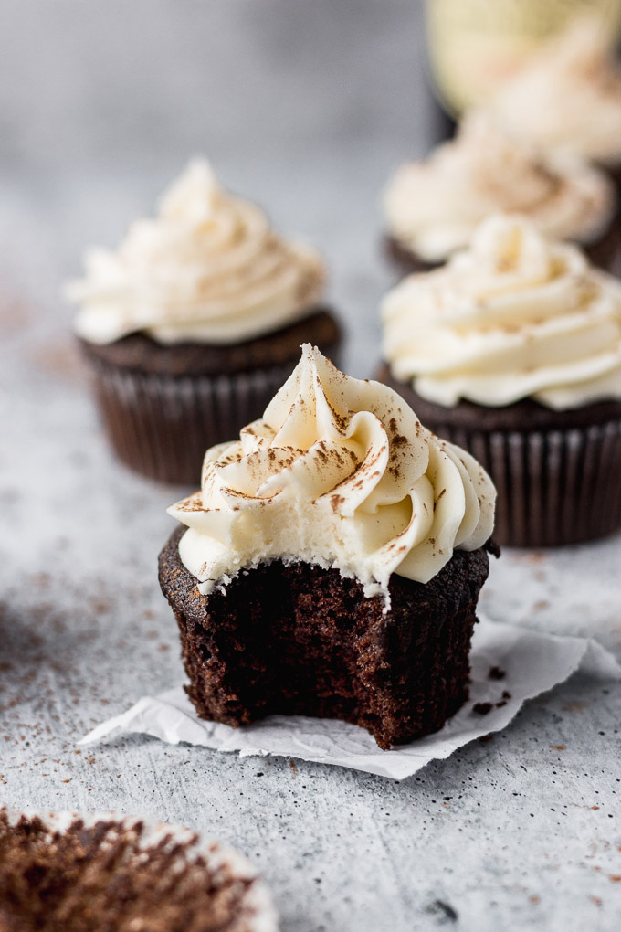guinness cupcakes with cream cheese frosting by fork in the kitchen
