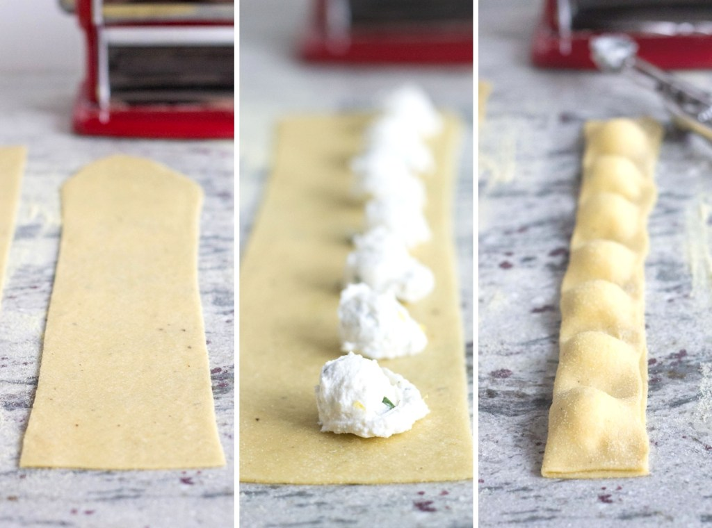 ravioli cheese on cooking sheet with raw pasta dough