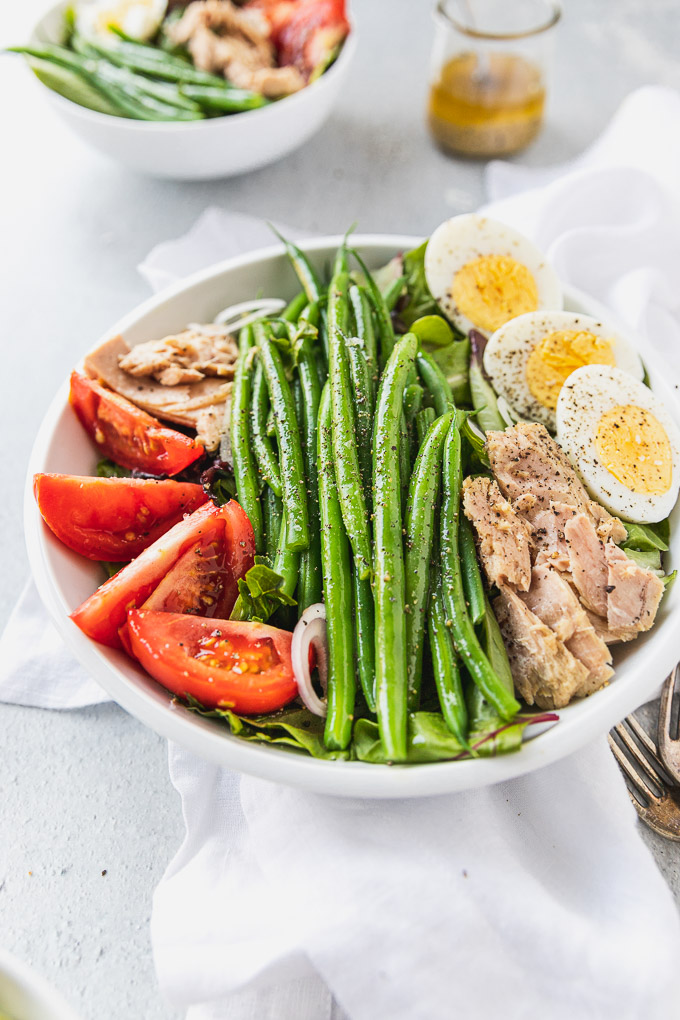 side view of green bean hard boiled egg salad