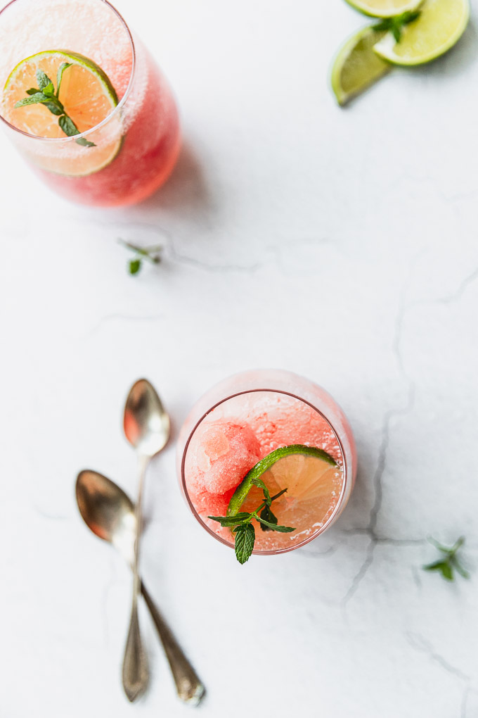 overhead watermelon granita mocktail