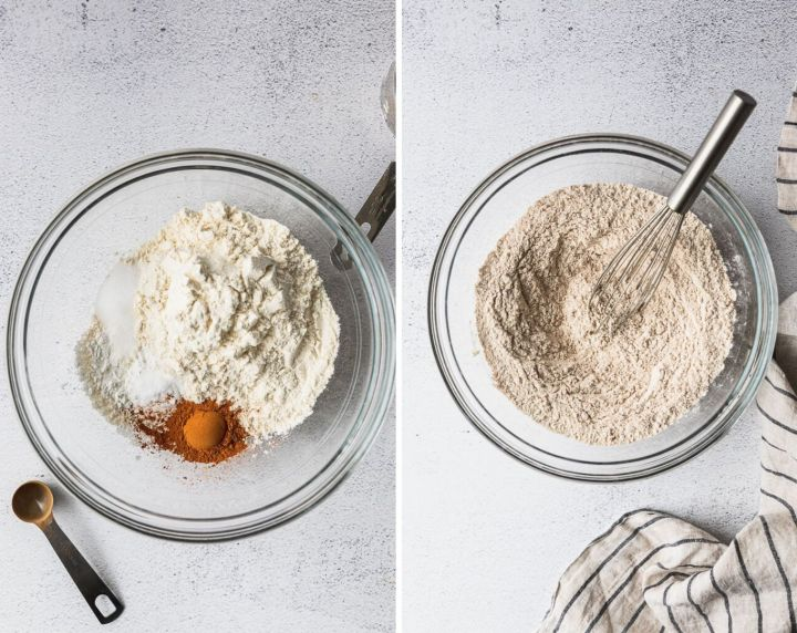 collage photos with dry ingredients for pumpkin bars