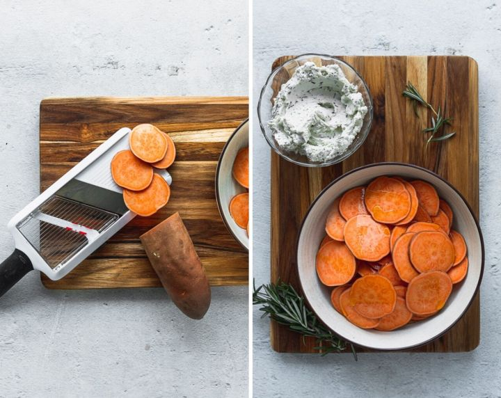 side by side photos of mandoline with sweet potato slices and bowl of slices next to herbed goat cheese