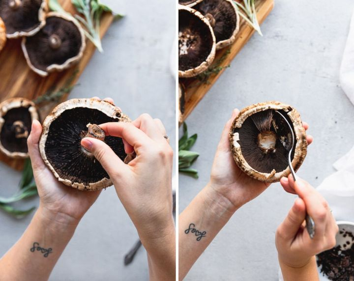 side by side photos of removing mushroom stem then scraping out the gills with a spoon to make stuffed portobello mushrooms