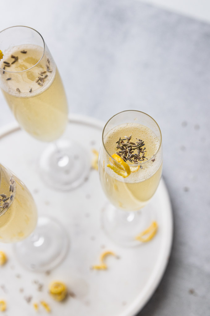 white tray with french 75 champagne flute