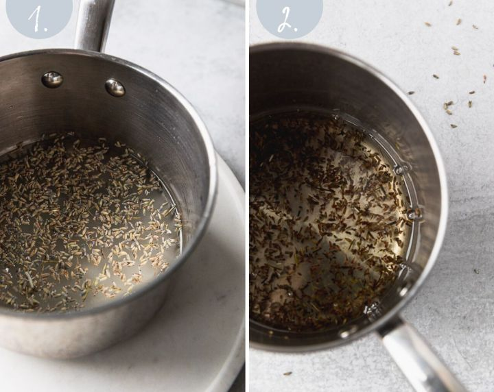 side by side before and after lavender simple syrup