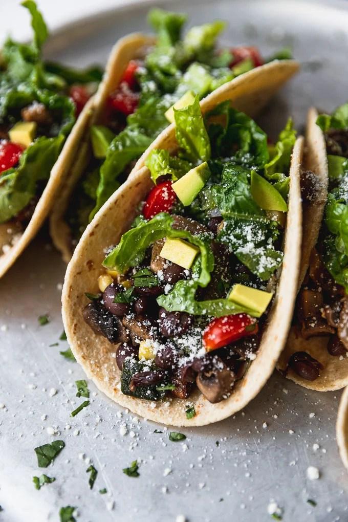 close up of black bean corn and poblano pepper taco