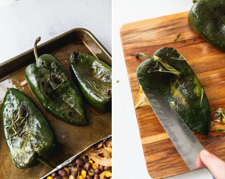 side by side photos of roasted poblano peppers on sheet pan and scraping off the peel