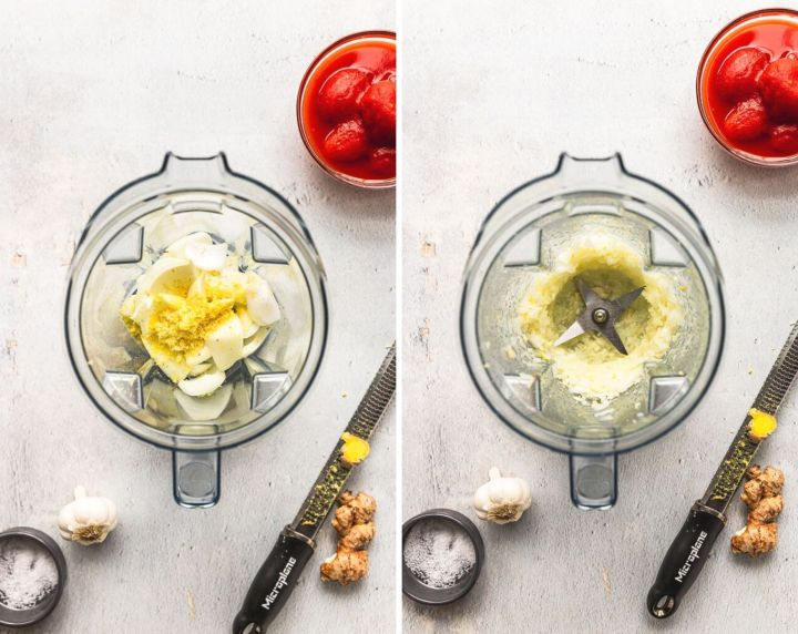 side by side photos of a blender filled with onion, garlic, and ginger next to tomato bowl