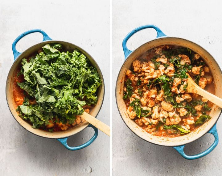 side by side photos of kale going into dutch oven, then kale wilted into curry