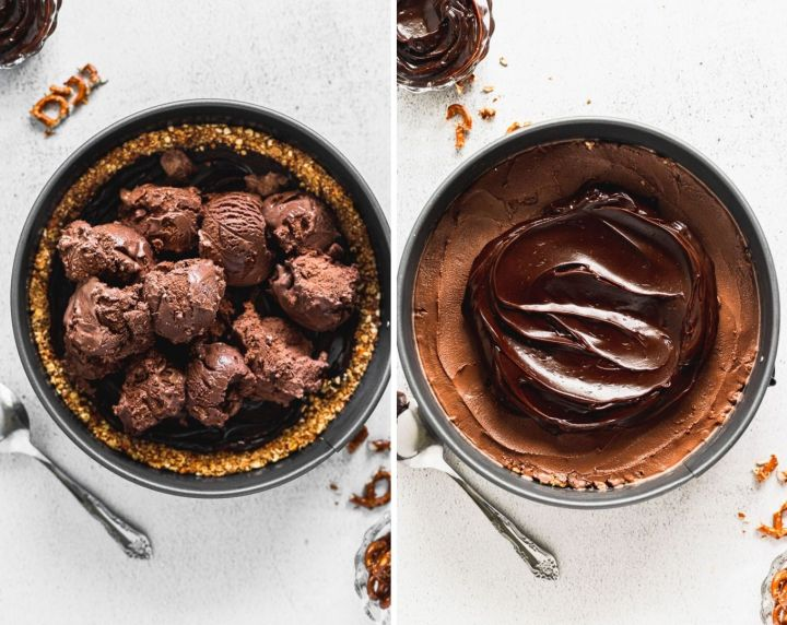 side by side photos of chocolate ice cream on top of fudge, next to ice cream spread with fudge on top