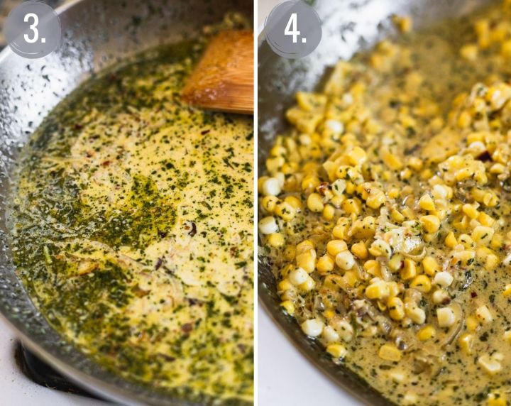 side by side photos of pan with pesto added to sauce, then corn