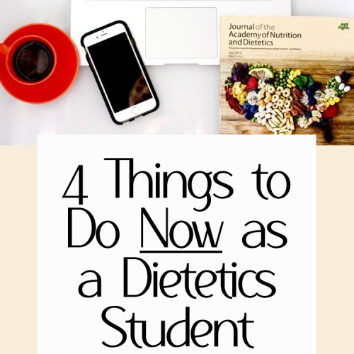"A computer on a table with a cup of coffee with the words ""4 things to do now as a dietetics student"" in black writing."